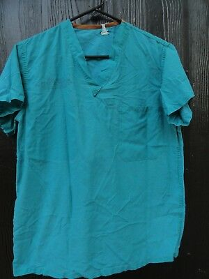 US Military Surplus Hospital Surgical Medical Scrubs Green Small Reversible Top