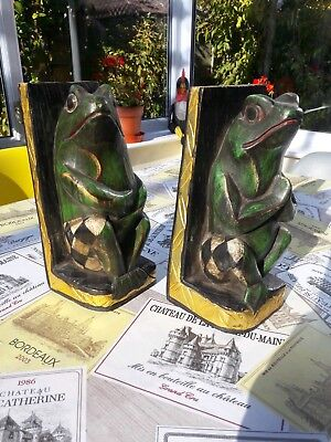 Vintage Retro Pair of Frog Bookends crafted in wood make you smile.
