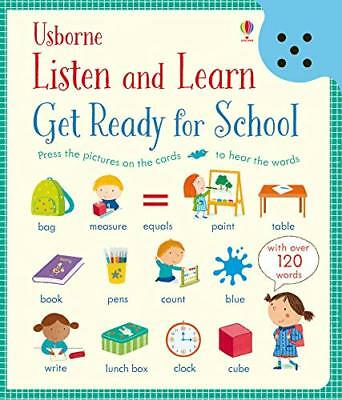 Usborne Listen & Learn Get ready For School Book Have Laminated Cards Ages 3+ Yr