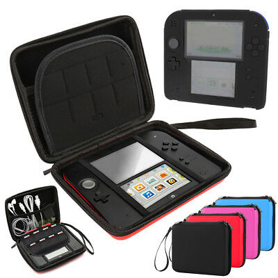 2-1 Hard Shell Carrying EVA Bag+Soft Silicone Bumper Case Cover for Nintendo 2DS