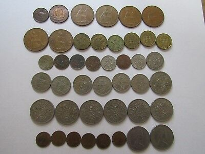 Lot of 43 Different Obsolete Great Britain Coins - 1937 to 1978 - Circulated