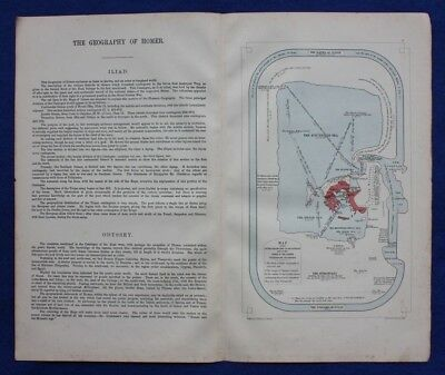 Original antique map 'THE GEOGRAPHY OF HOMER', GREECE, W & A.K. Johnston, c.1864