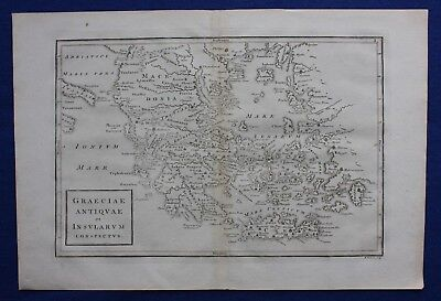 Original antique map GREECE, CRETE, 'GRECIAE ANTIQUAE', AEGEAN, Cellarius 1799