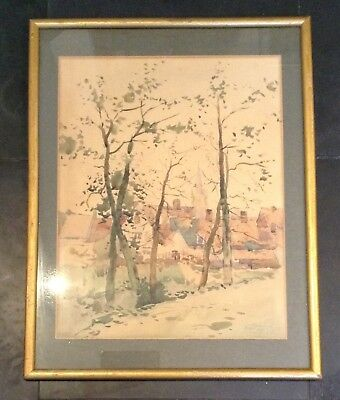 Signed Lionel Hawkes 1888 Watercolour Church Of St Madeline, Autumn, Bruges