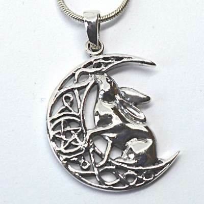Moon Gazing Hare Crescent Moon Sterling Silver Pendant Lisa Parker Wicca Pagan