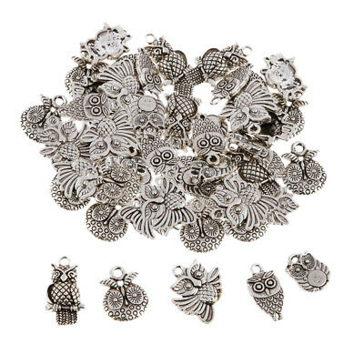 50 Assorted Tibetan Silver Owl Charms Pendant Bead DIY Jewelry Making Crafts