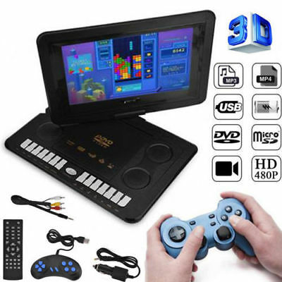 "13.9"" HD TV Portable DVD Player 16:9 LCD 270° Swivel Screen UK Plug 110-240V"