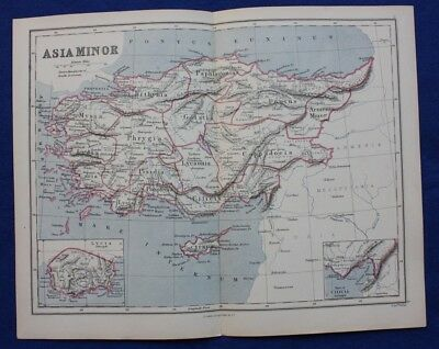 Original antique map ASIA MINOR, TURKEY, CYPRUS, MEDITERRANEAN, Weller, 1877