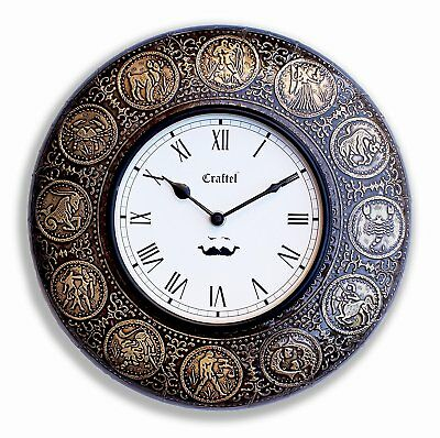 Vintage Wall Clock Zodiac Sign Decorative Wooden Clock & Brass Plating Xmas Gift