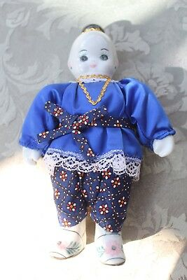 Chinese Blue and White Asian Doll with porcelain head and feet