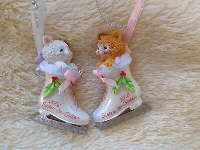 Carlton Christmas Ornament: Sister to Sister 2008 NIB kittens in ice skates