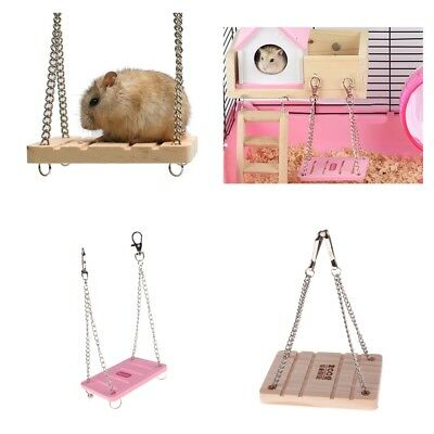Wooden Toy Swing Cage Exercise Toy for Hamster Hedgehog Mouse Rat Guinea Pig