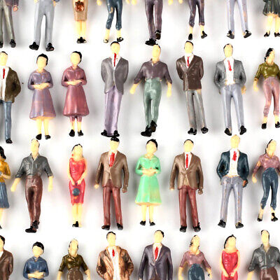 100Pcs 1:50 O Scale Model People Figures Passenegers Train Scenery Mixed Color