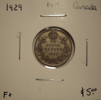 Canada George V 1929 Silver Ten Cents - F+