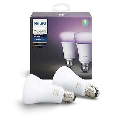Philips Hue White and Colour Ambience Personal Wireless Lighting 2 x 9.5 W E27