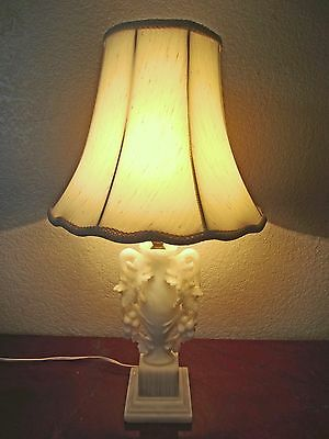 ANTIQUE,HIGHLY DETAILED HAND CARVED WHITE URN with GRAPES ALABASTER TABLE LAMP