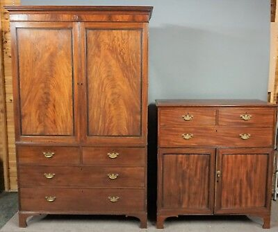 Antique Mahogany Georgian Linen Press & Matching Tallboy Chest Of Drawers