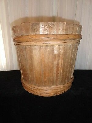 Vintage Beautiful Brown Antique Wood Bucket  Rustic Primitive