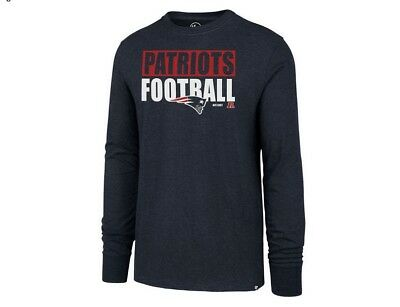 NFL New England Patriots '47 Brand Stacked Box L/S Adult Men's T-Shirt BNWT