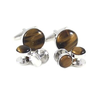 New Round Tiger Eye Stone Cuff Link And Shirt Studs Formal Wear Set  1528