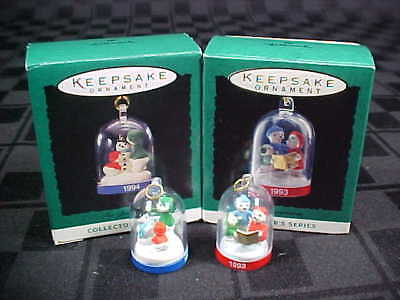 Lot of 2 Snowglobes The BEARYMORE's 1993 & 1994 Hallmark Miniature Ornaments