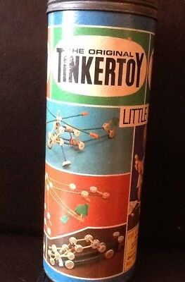 Vintage Tinkertoy Set In Original Cylinder Box 15 95 Picclick