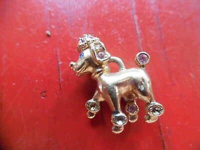 Vintage gold tone poodle pendant- charm with pink & blue stone accents