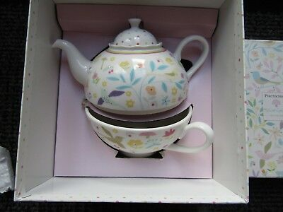 PORTMEIRION SECRET GARDEN CUP+TEAPOT FOR ONE never used / boxed relisted