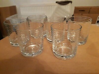 RETRO  Vintage Ribbed Glass Tumblers 6 x 3.5 Inches K88 Whisky?