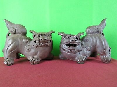 Pair Vintage Chinese Zisha Clay Foo Dogs Yixing Fu Lion Temple Guardians