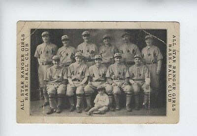 All Star Ranger Girls Baseball Illinois  Rare Postcard Photo