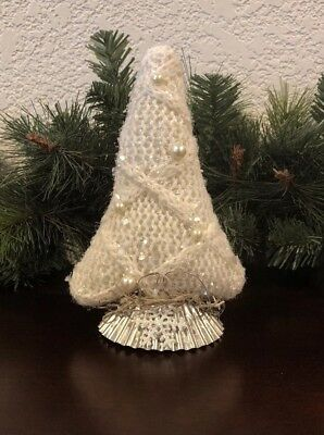 Primitive Farmhouse Xmas Tree Make Do Vtg Tart Tin Rustic Cream Beads Sweater