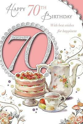 Age 70th Open Female 70 Celebrate Today Medium Sized Style Birthday Card New