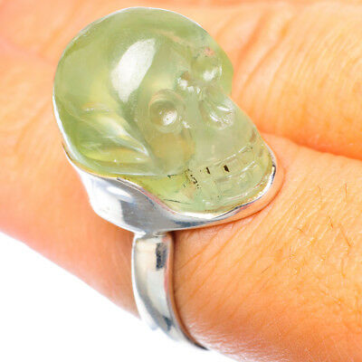 Prehnite Skull 925 Sterling Silver Ring Size 7.5 Ana Co Jewelry R923423F