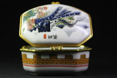 Handmade Delicate Exquisite Porcelain Paint Great Wall & Red Leaves Fashion Box