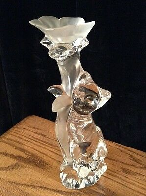 NWT Stunning Bavarian Lead Crystal Candlestick - Nachtman Cat Frosted, 24%