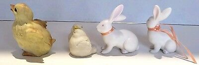 vintage taiwan lefton Easter Ceramic Figures A Baby Chic duck Doves Two Rabbits