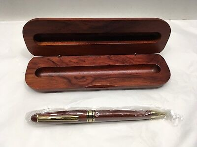 Vtg Red Mahogany Ink Pen In Org Wood Case South Carolina Promo IT