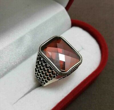 Handcraft Turkish 925 Sterling Silver Jewelry Ruby Men's Ring