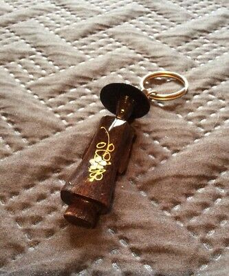 Vintage Asian China Man Figure Wood And Mother Of Pearl Keyring