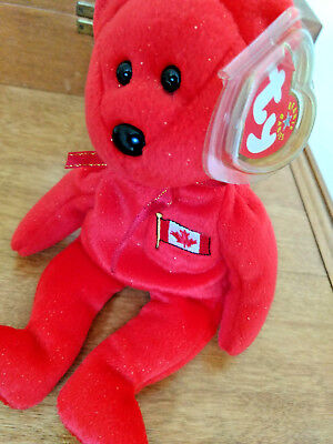 Ty bear Beanie Babies Pierre red with gold glitter New with tags Christmas