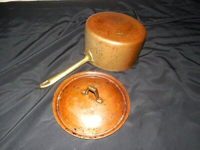 Vintage Heavy Copper Brass Handle Tin Lined Cooking Pot Pan With Lid
