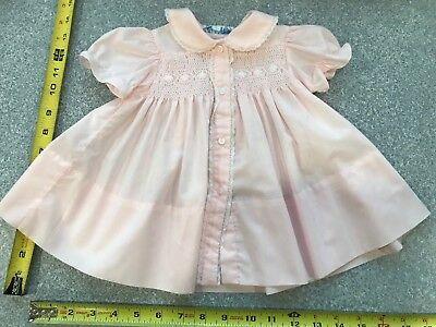 "Vintage 1950s 1960s PINK Baby Doll Factory Dress Composition 25"" 26"" 9 m Smocked"