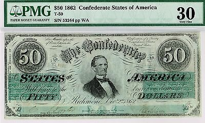 $50 Confederate States of America. T-50.  PMG 30 Very Fine.  Nice color.