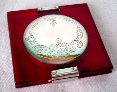 Sterling Silver Ruby Red Bakelite Art Deco Powder Compact ca 1930s