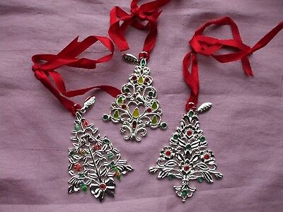 Silver Christmas Tree Ornaments Lenox 12 Days Pear Inset Crystals Enamel 2006