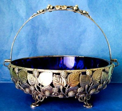 Berndorf Austria Antique Art Nouveau SP Bridal Basket Cobalt Blue Glass ca. 1880