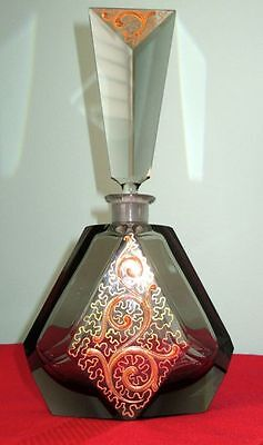 Moser Bohemian ART DECO Smoky Hand Cut Crystal Large Cologne Bottle 1920-30s