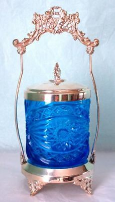 Antique Pickle Castor Jar Blue Glass EPS Ornate Frame Hallmarked