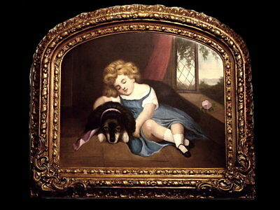 Victorian Painting Child And Dog, Angelic With Orig. Custom Gilt Frame 19Th C.